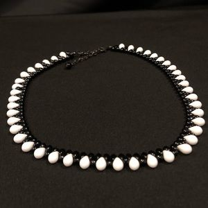 White & Black Beaded Necklace